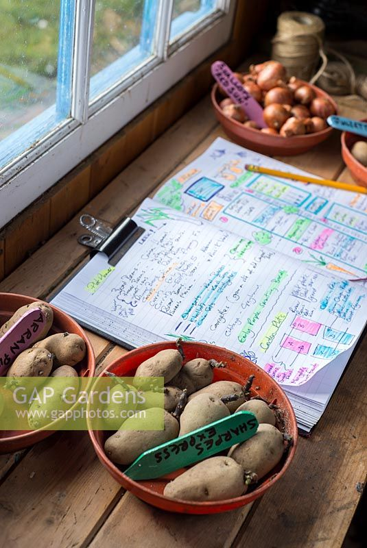 Garden planner with handwritten highlighted diagrams and notes for the growing season.