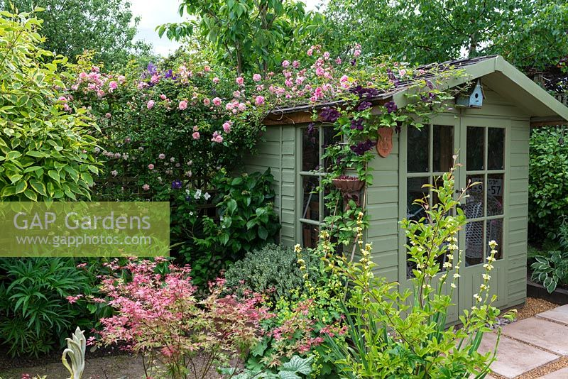 gap gardens a painted wooden summer house covered with. Black Bedroom Furniture Sets. Home Design Ideas