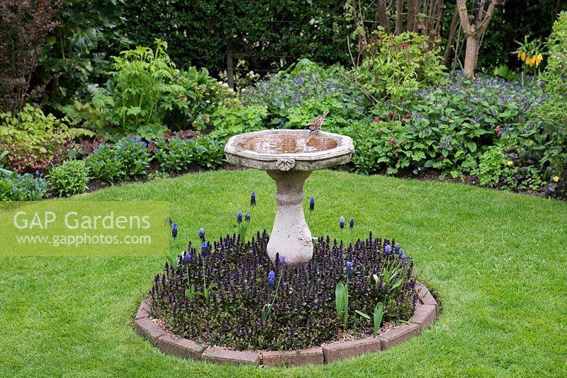 Gap gardens a lawn with stone bird bath on an island bed for Stone island bedding