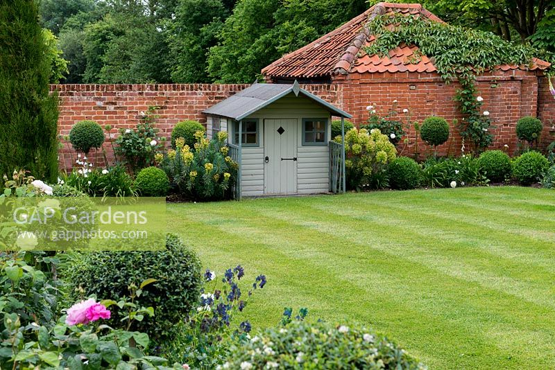 A Walled Courtyard Garden With Lawn, Wooden Summerhouse And Borders With  Privet Standards, Peonies