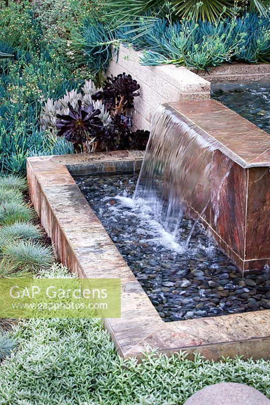 Modern water feature. Debora Carl's garden, Encinitas, California, USA. August.