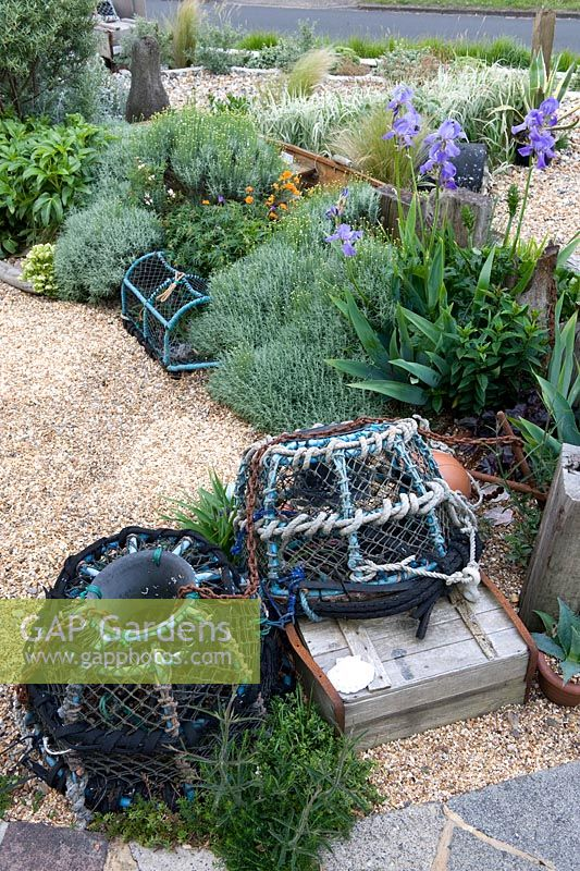 Seaside Themed Garden With Ornamental Found Objects Including Crab And Lobster Pots Driftwood Iris