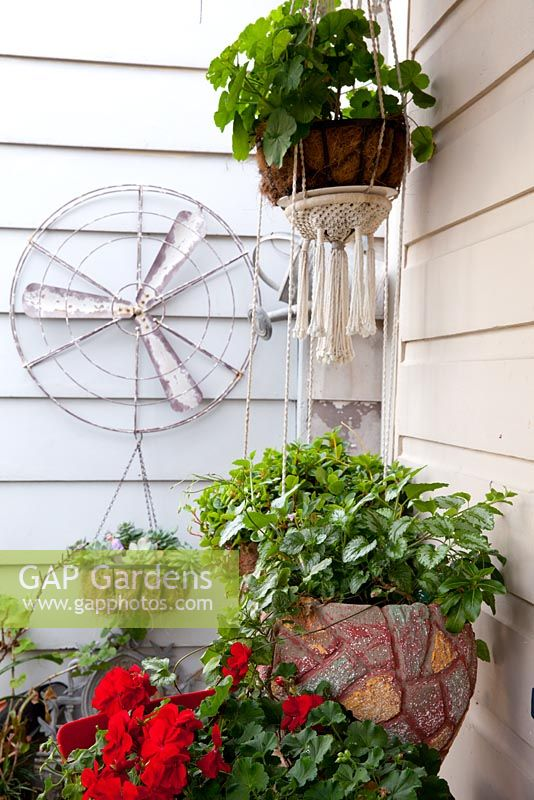Detail of a front verandah showing a collection of pots and hanging baskets with a old fan blade and cover as a wall decoration, a retro cement pot planted with Spotted Dead Nettle, Lamium maculatum and a red flowered geranium - Pelargonium.