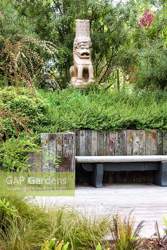 10th Century Asian lion statue, Bhudevi Estate garden, Marlborough, New Zealand.