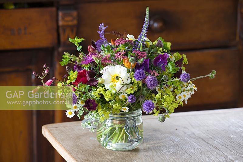 Gap Gardens Freshly Cut Flowers In A Glass Vase On Table Common