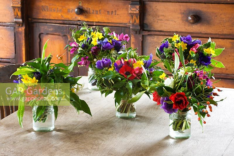 GAP Gardens - Mixed jam jar arrangements of British grown flowers ...