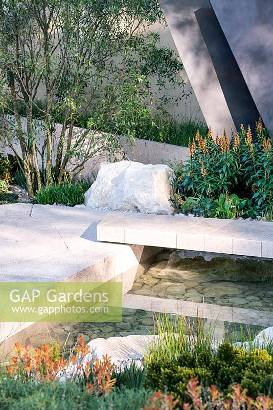 the telegraph garden view of limestone path over stream with clear water surrounded by stones irregular geometric bronze sculptures isoplexus canariensis