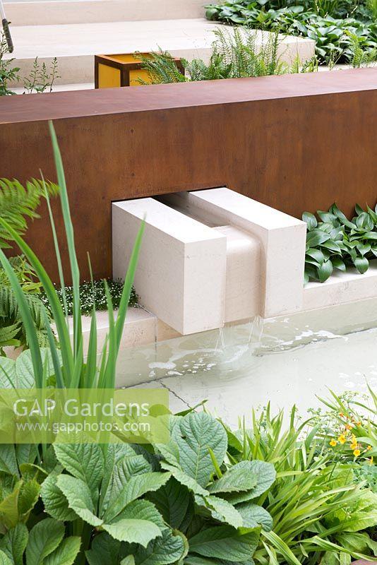 limestone and corten steel water feature vestra wealths garden of mindful living rhs chelsea