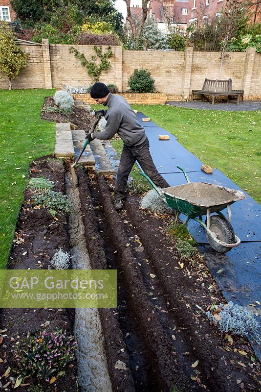 Stepped Border In London Garden   Builder Putting Cement Into Trenches For  Foundations