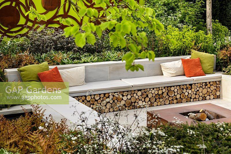 Pleasing Gap Gardens Firewood Storage Bench Seating Corten Steel Dailytribune Chair Design For Home Dailytribuneorg