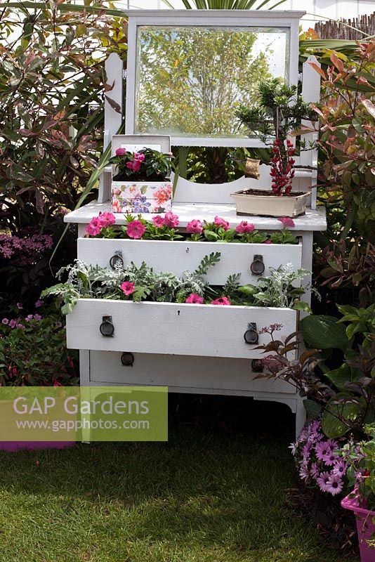 Sideboard planter in the Recycled and Reused garden BBC Gardeners World Live 2015