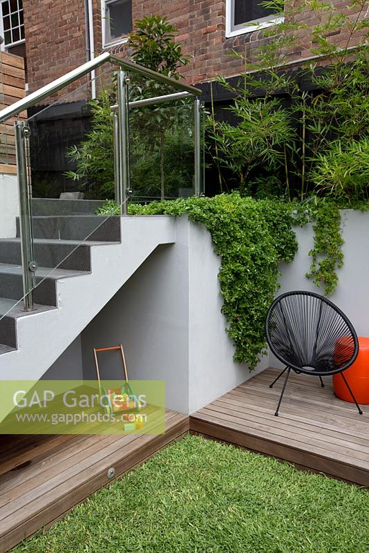 Steps with glass safety panels leading to an upper patio withchilds play area under a set of stairs with frameless glass screens a timber deck, timber children's toy and Aptenia cordifolia, heartleaf iceplant spilling over a grey painted cement rendered wall.