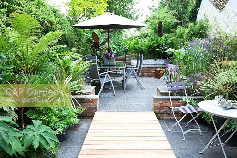 Small modern urban garden full of exotics with decking walkway over slate paving. Metal tables and chairs with a border of Tetrapanax papyrifer, syn. Aralia papyrifer, Dracaena marginata 'Tricolor Rainbow', Dicksonia antarctica, Trachycarpus fortunei, Ferns, Bamboo, Cordyline australis and Ensete ventricosum 'Maurelii'.