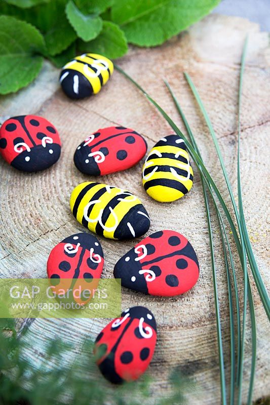Garden craft making painted Bumble bees and Ladybirds with stones. Collect long grasses to make a noughts and crosses board