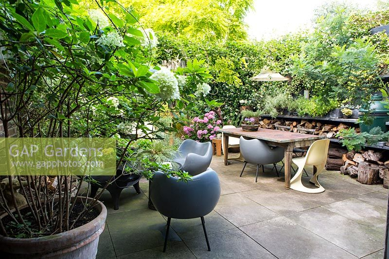 Seating area on terrace. Hackney, London