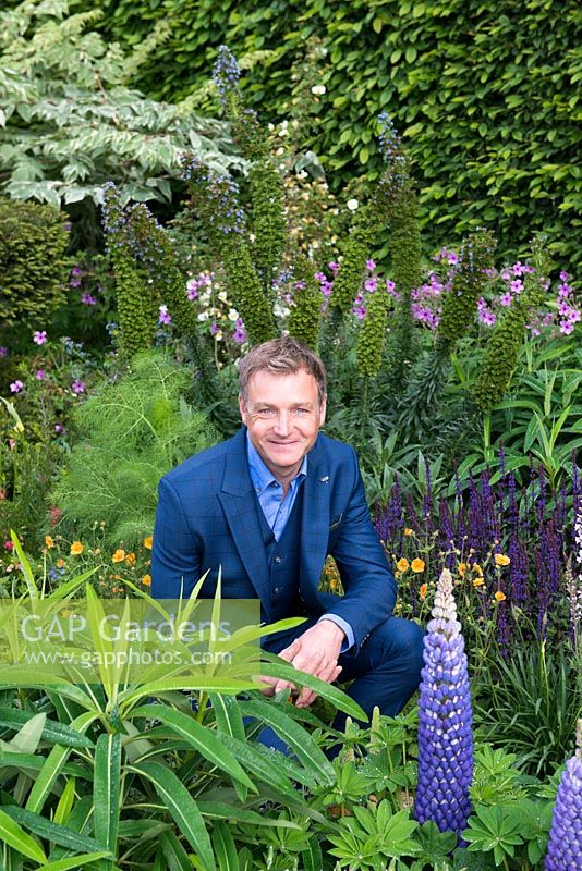 Portrait of Chris Beardshaw, whose design is inspired by the fractal geometry and patterns found in nature, music, art and communities. - The Morgan Stanley Garden - RHS Chelsea Flower Show 2017 - Sponsor: Morgan Stanley