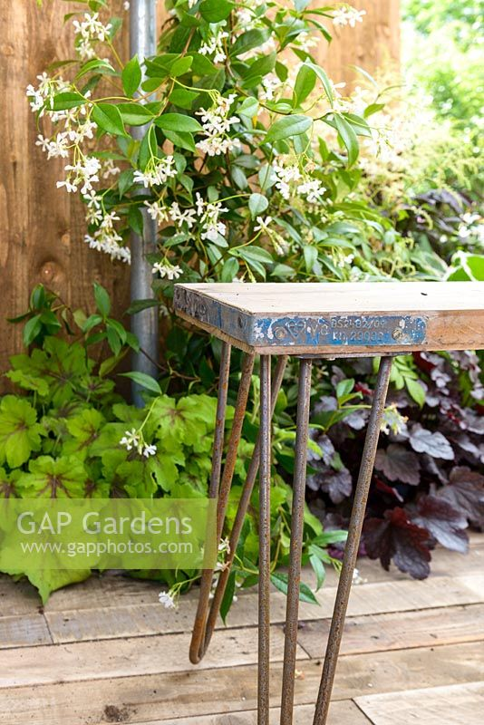 Wood and metal bench detail - BBC Gardener's World Live, Birmingham 2017 -Living Gardens 'Its Not Just About The Beard…' Garden - Designer : Peter Cowell and Monty Richardson, Living Garden - Gold