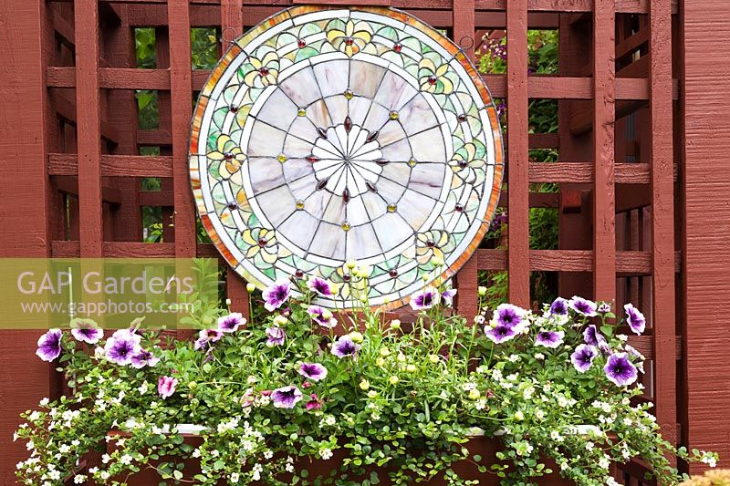 Purple Petunia 'Night Sky', Calibrachoa, Lobelia, yellow Sanvitalia and Creeping zinnia flowers in wooden flower box with decorative round stained glass window in summer, Quebec, Canada