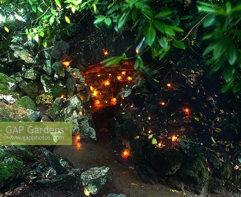 Grotto with lighting at the Lost Gardens of Heligan, Cornwall