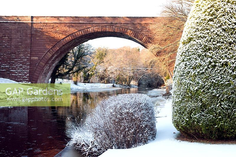 The new bridge over the River Doon, Alloway, Ayrshire, Scotland in winter