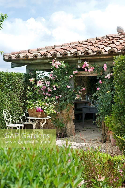 The Flower House covered with climbing roses at Borgo Santo Pietro, Tuscany.