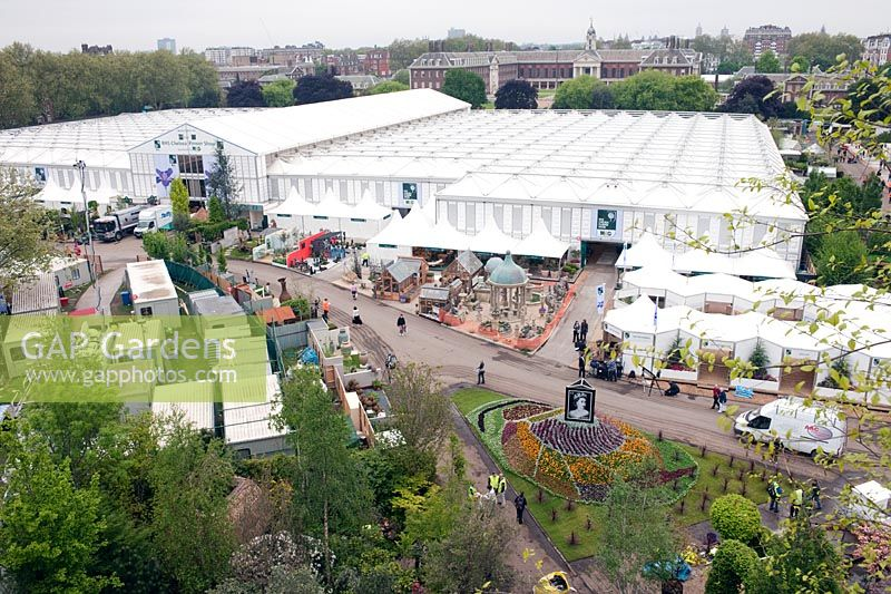 View over Chelsea showground Great Pavilion from the The Westland Magical Garden designed by Diarmuid Gavin