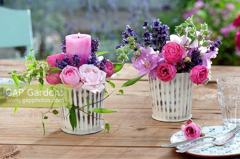 Lantern with Lavandula ( lavender ) and Rosa ( Rose )