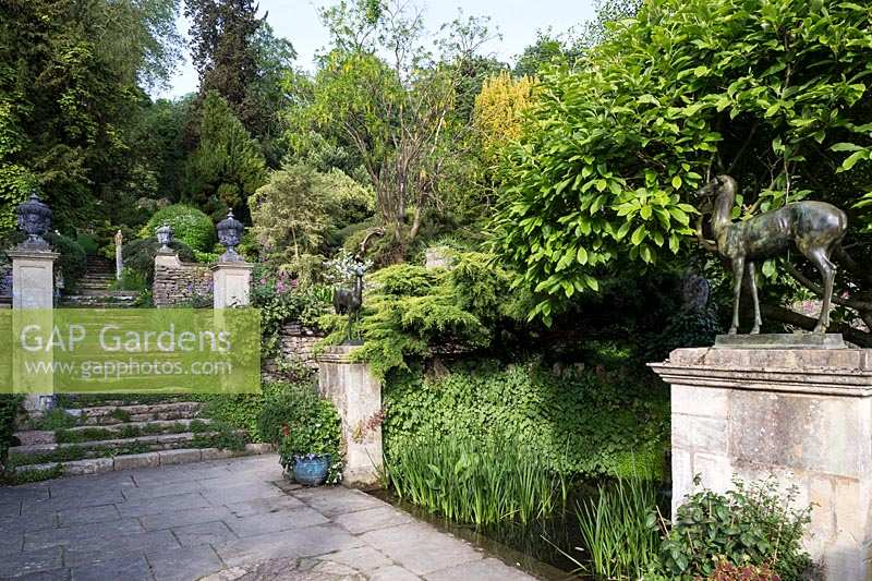Iford Manor, Wiltshire,. Early summer, Italianate garden designed by Harold Peto