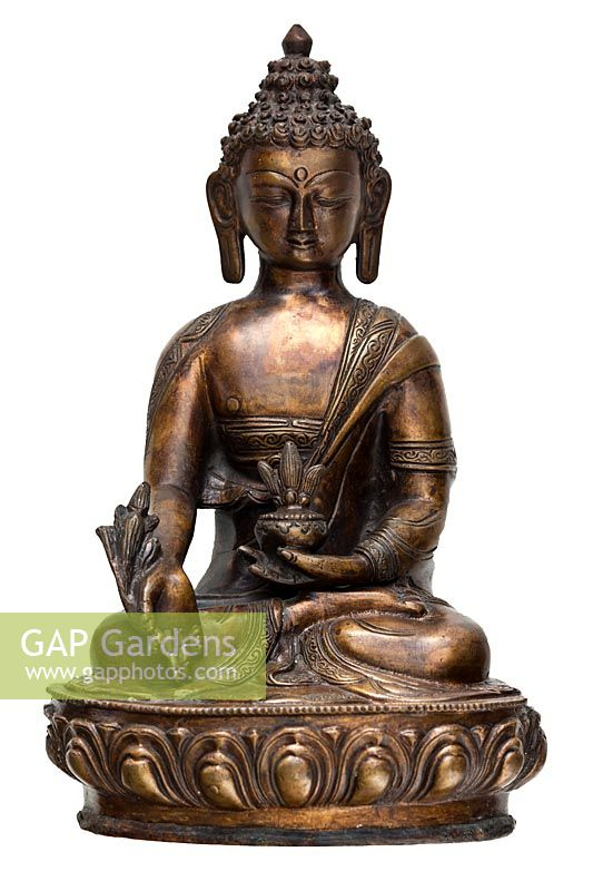 Antique bronze cast Indian Hindu lotus seat seated meditation statue Buddha bhumisparsa mudra earth witnessing posture cutout