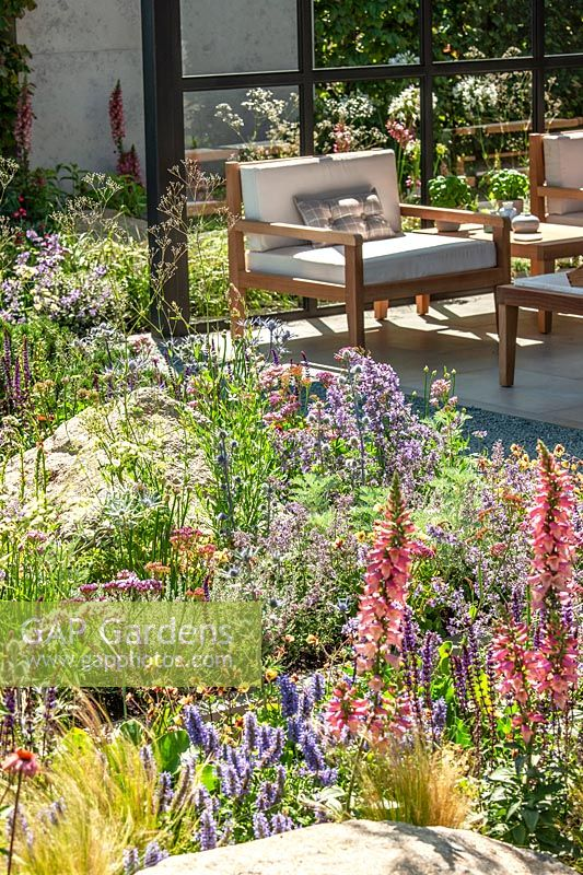 Terrace with colorful perennial planting