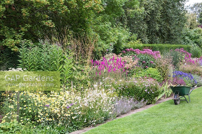 A view of a colourful flowering border at Newby Hall and Gardens, Yorkshire.