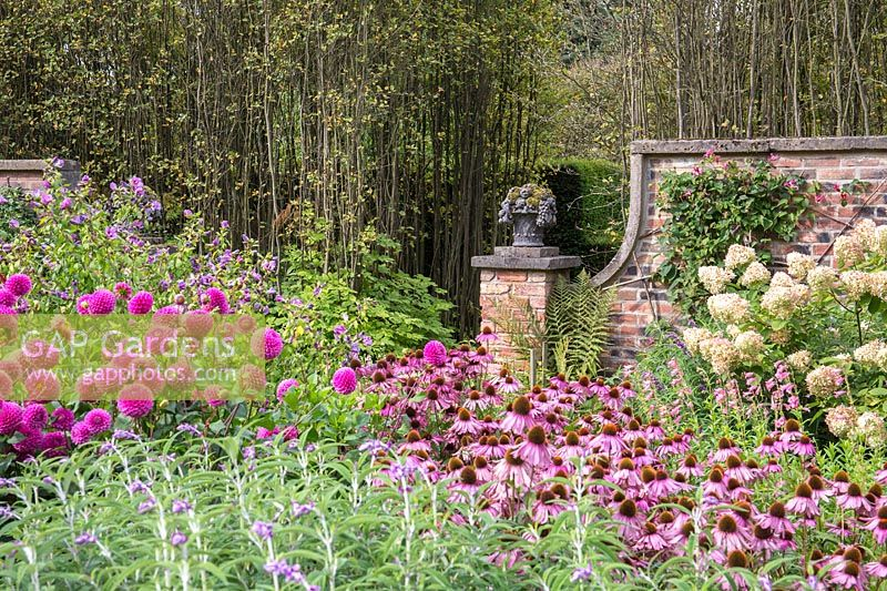 A view across walled Autumn Garden at Newby Hall and Gardens, Yorkshire.