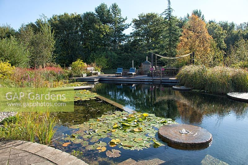 View of natural swimming pool at Ellicar Gardens, Nottinghamshire.