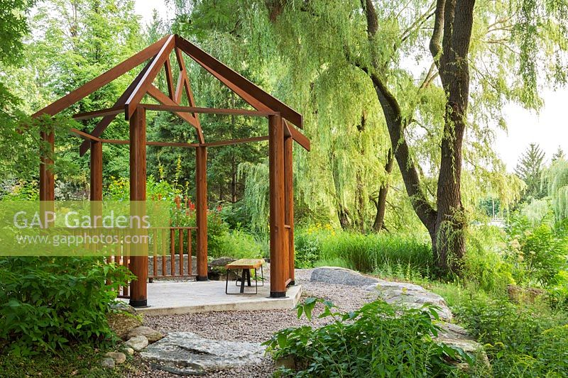 Timber pergola with Salix - Willows, Centre de la Nature, Laval, Quebec, Canada