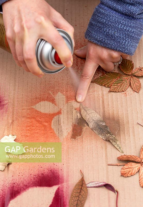 Woman spraying garden leaf with gold spray paint.