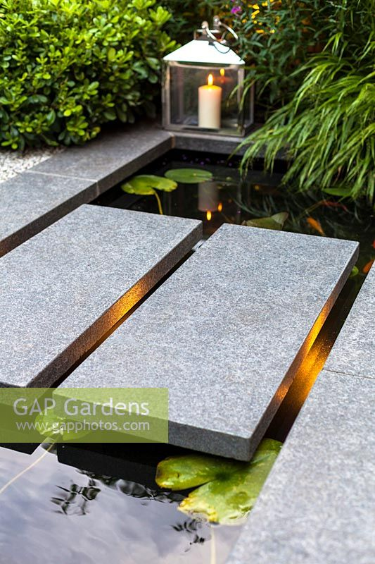 Gap Gardens Detail Shot Of Illuminated Stepping Stones Over