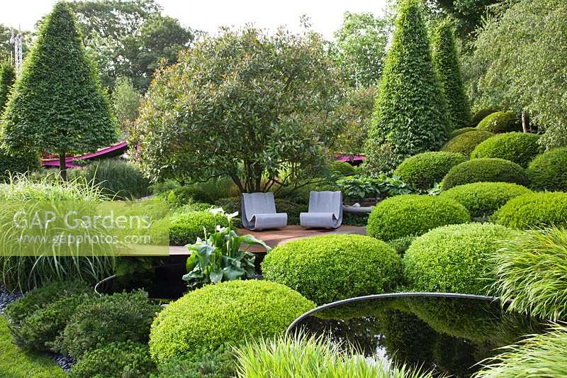 Pool and seats with clipped Buxus, Carpinus, Photinia and Hakonechloa. Irish Sky Garden, RHS Chelsea Flower Show.