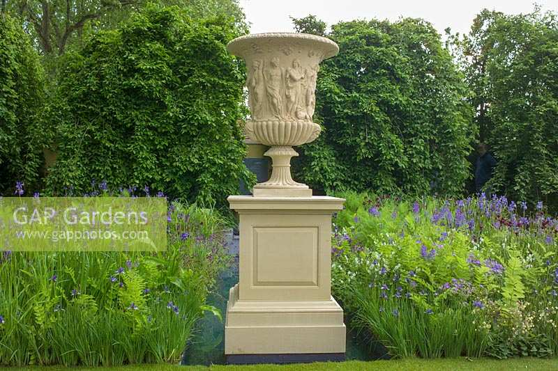 Large formal urn in show garden. The Laurent Perrier Garden - Trentham Awakes, RHS Chelsea Flower Show 2005.