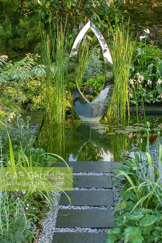 'Beyond the Babbling Brook' metal sculpture in pond, Hampton Court Flower Show, 2003