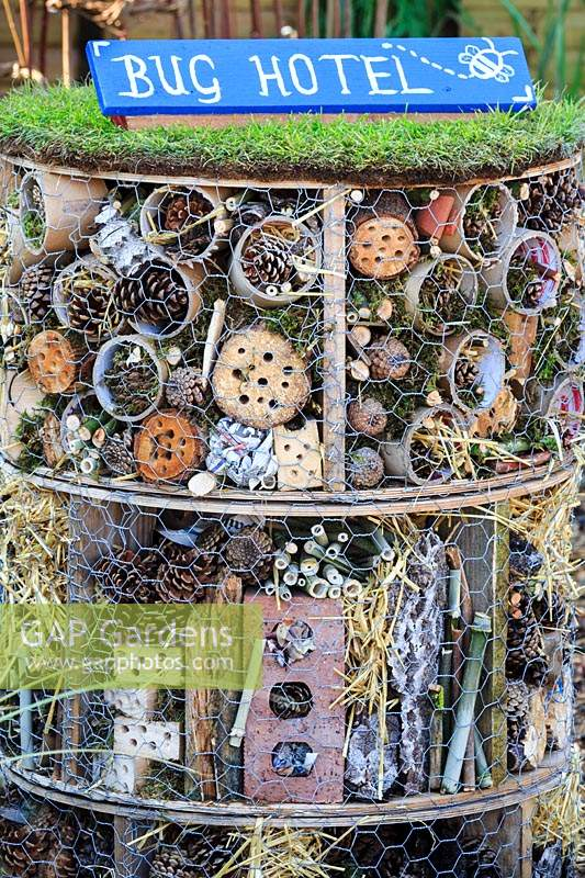 Bug hotel in the Princes Trust garden. Designed by Lizzie Neale. Sandringham Flower Show, 2018.