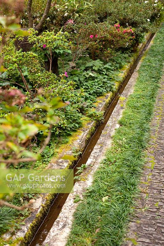 Irrigation channels - levadas - in Monte Palace Tropical Garden, Madeira, Portugal.