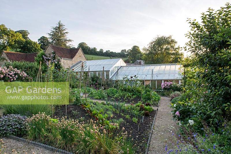 View across the kitchen garden towards the greenhouse