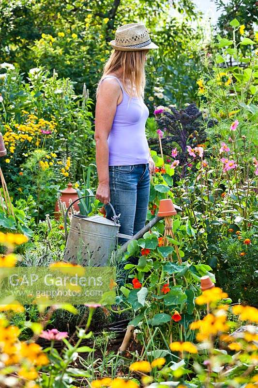 Woman with a watering can in vegetable garden.