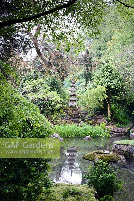 The Japanese garden at Iford Manor, Bradford-on-Avon, Wiltshire, UK.