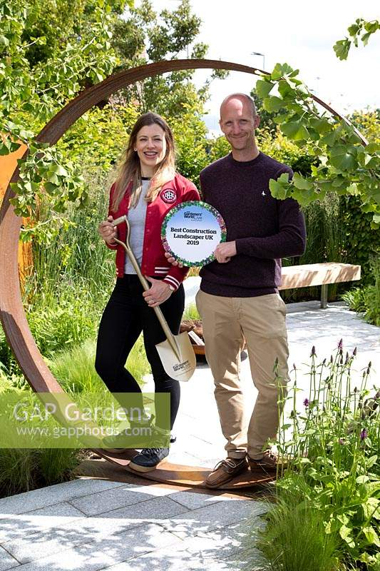 Dan Ryan, the Contractor and Lucy Bravington, the Designer with their 'Best Construction' award on 'High Line' garden at BBC Gardeners World Live 2019