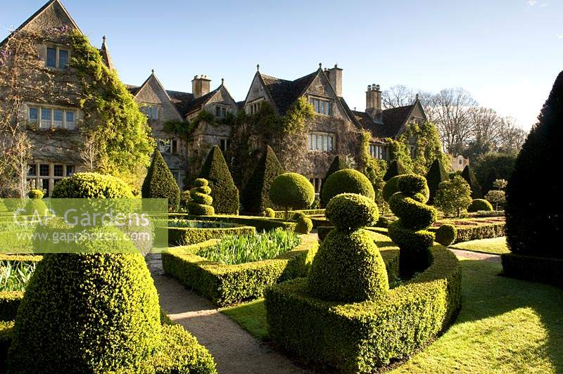 The parterre and knot gardens at Abbey House Gardens, Malmesbury, UK.