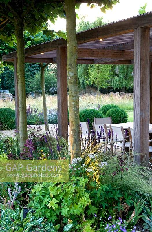 View through tree trunks and flowering perennials to wooden pergola and dining area.