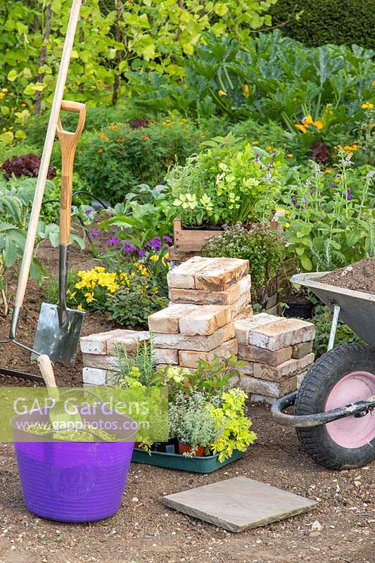 Tools and materials for making a Tiered Brick Herb garden