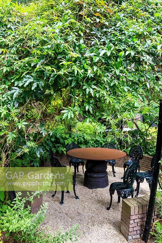 Corten steel table and ornate black metalwork chairs stand under circular pergola covered with Passiflora - Passion flower plant. Garden of the Anders Hotel on the Prinsengracht canal, Amsterdam, The Netherlands.