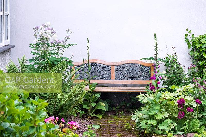 A bench placed amongst flowering Digitalis, Astrantia, Geranium, ferns and Thalictrum.